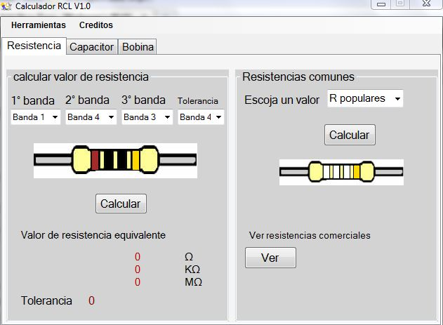 Calculador De Bobinas Y Resistencias on mis capacitor