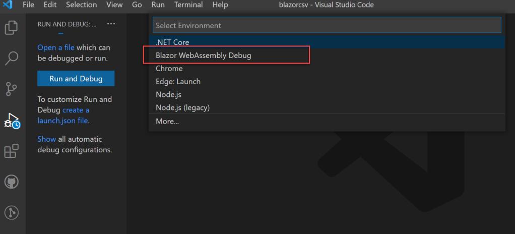 Blazor debug visual code